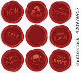 set of red wax seal. isolated... | Shutterstock . vector #420976957