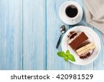 tiramisu dessert and coffee on... | Shutterstock . vector #420981529