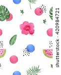 tropical watercolor seamless... | Shutterstock . vector #420984721
