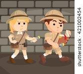 boy and girl explorer following ... | Shutterstock .eps vector #421002454