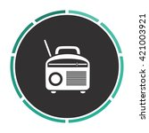 radio simple flat white vector...