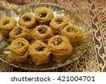 baklava or bulbul's nest ...   Shutterstock . vector #421004701