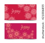 two vector floral greeting card ... | Shutterstock .eps vector #421006855