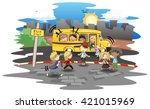 cartoon kid and kindergarten or ... | Shutterstock .eps vector #421015969