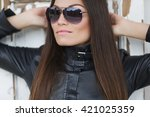 young stylish woman | Shutterstock . vector #421025359