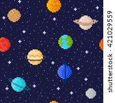 set of solar system planets ... | Shutterstock .eps vector #421029559