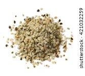 heap of raw peeled hemp seeds...   Shutterstock . vector #421032259