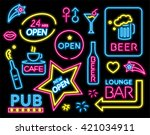 Colorful Neon Sign Set. Vector...