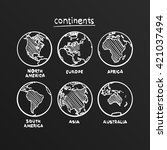 sketch drawing continents ... | Shutterstock .eps vector #421037494