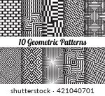 set of 10 abstract patterns.... | Shutterstock .eps vector #421040701