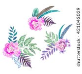 set of floral bouquets in... | Shutterstock . vector #421043029