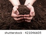bunch of good soil in hands on... | Shutterstock . vector #421046605