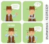 set of cowboy characters posing ... | Shutterstock .eps vector #421052329