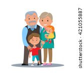 grandparents family with...   Shutterstock .eps vector #421055887