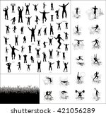 silhouettes of athletes and... | Shutterstock .eps vector #421056289