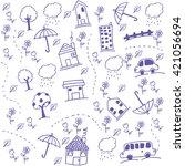funny draw kids doodle art home ...   Shutterstock .eps vector #421056694