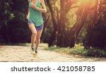 young woman trail runner... | Shutterstock . vector #421058785