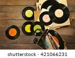 vinyl records and headphones on ... | Shutterstock . vector #421066231