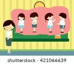 education concept  teacher talk ... | Shutterstock .eps vector #421066639