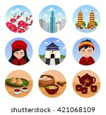 travel to taiwan. set of... | Shutterstock .eps vector #421068109