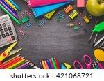 school supplies on blackboard...   Shutterstock . vector #421068721