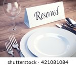 reserved sign on a restaurant...   Shutterstock . vector #421081084