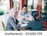 portrait of business people... | Shutterstock . vector #421081705