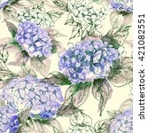 watercolor hortensia seamless... | Shutterstock . vector #421082551