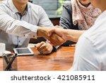 portrait of business people... | Shutterstock . vector #421085911