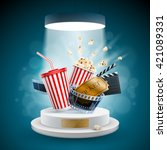 popcorn box  disposable cup for ... | Shutterstock .eps vector #421089331