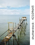 Wooden Footbridge Over The Sea...