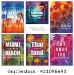 exotic travel backgrounds with... | Shutterstock .eps vector #421098691