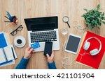man shopping online at home... | Shutterstock . vector #421101904