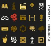 cinema retro movies icons set.... | Shutterstock .eps vector #421102525
