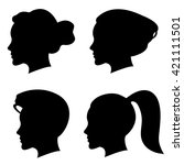 vector set of woman silhouette... | Shutterstock .eps vector #421111501