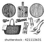 cutting or chopping board ... | Shutterstock .eps vector #421113631