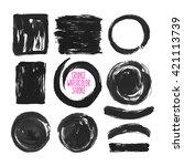 set of black grunge vector... | Shutterstock .eps vector #421113739
