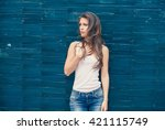 young woman in white t shirt... | Shutterstock . vector #421115749