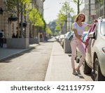 young blonde girl walks through ... | Shutterstock . vector #421119757