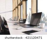 closeup of blank laptop screen... | Shutterstock . vector #421120471