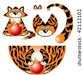 paper toy tiger with patterns. | Shutterstock .eps vector #42112102