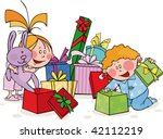 funny kids opens the gift | Shutterstock .eps vector #42112219