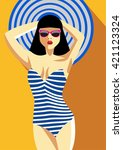 woman in a striped bathing suit.... | Shutterstock .eps vector #421123324