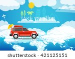 take vacation travelling... | Shutterstock .eps vector #421125151