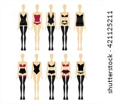 a set of lingerie sets drawn in ... | Shutterstock .eps vector #421125211