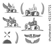 set of retro farm tractor... | Shutterstock .eps vector #421137721