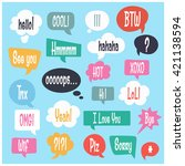 vector speech bubble colorful... | Shutterstock .eps vector #421138594