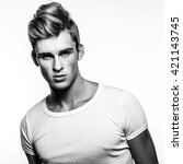 elegant stylish handsome man.... | Shutterstock . vector #421143745