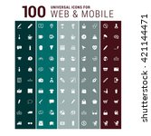 100 universal mobile and web... | Shutterstock .eps vector #421144471