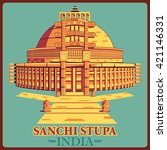 vintage poster of sanchi stupa... | Shutterstock .eps vector #421146331